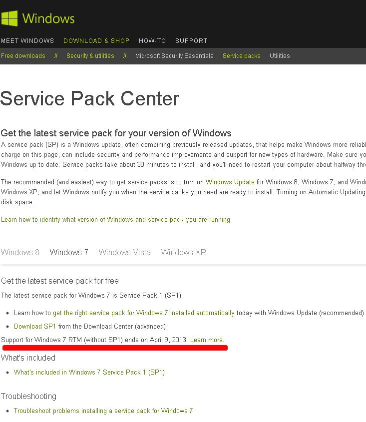 Поддержка Windows 7 без SP1 прекращена