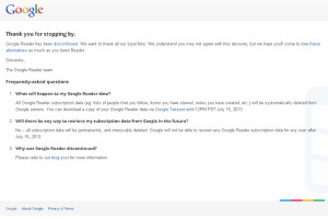 Google Reader закрыт